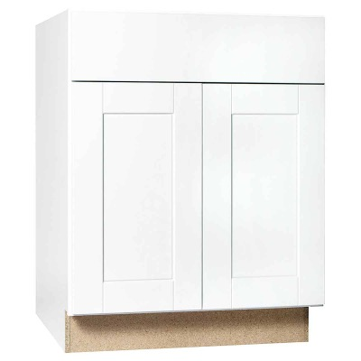 Continental Cabinets Andover Shaker 27 In. W. x 34-1/2 In. H. x 24 In. D. White Thermofoil Base Kitchen Cabinet