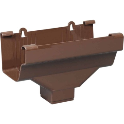 Amerimax 5 In. End with 2 In. x 3 In. Drop Outlet for Brown Vinyl Traditional K-Style Gutter