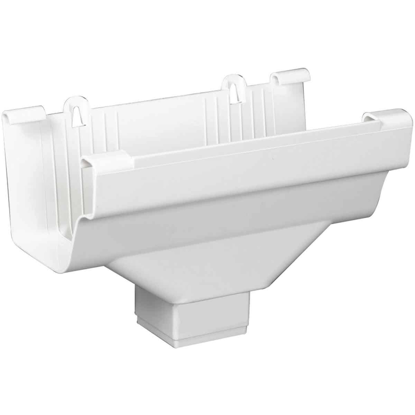 Amerimax 5 In. End with 2 In. x 3 In. Drop Outlet for White Vinyl Traditional K-Style Gutter Image 1