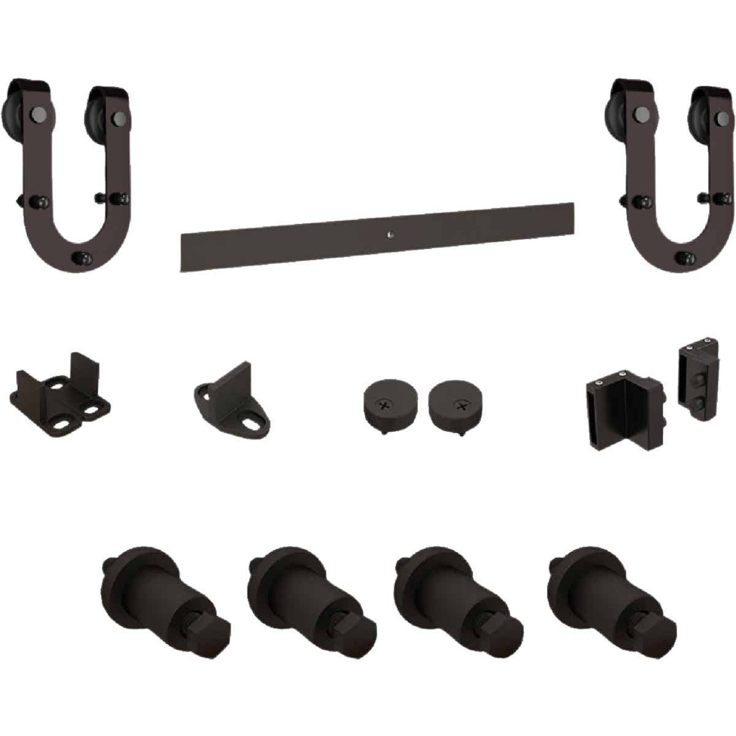 National Oil Rubbed Bronze Steel Up to 200 Lb. Barn Door Hardware Kit Image 1