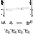 National Satin Nickel Steel Up to 200 Lb. Barn Door Track Hardware Kit Image 1