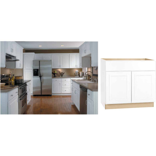 Continental Cabinets Hamilton 36 In. W x 34-1/2 In. H x 24 In. D Satin White Maple Base Kitchen Cabinet