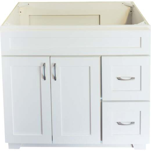 CraftMark Shaker Retreat White 36 In. W x 34 In. H x 21 In. D Vanity Base, 2 Door/2 Drawer