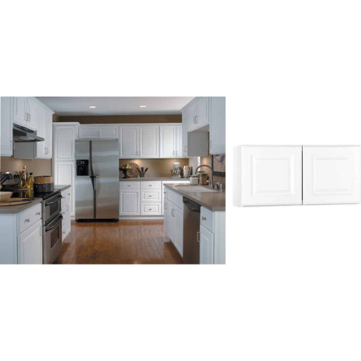 Continental Cabinets Hamilton 30 In. W x 15 In. H x 12 In. D Satin White Maple Bridge Wall Kitchen Cabinet