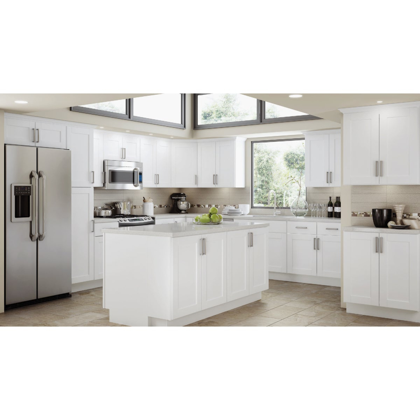 Continental Cabinets Andover Shaker 12 In. W x 34 In. H x 24 In. D White Thermofoil Base Kitchen Cabinet Image 2
