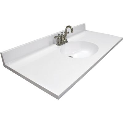 Modular Vanity Tops 49 In. W x 22 In. D Solid White Cultured Marble Vanity Top with Oval Bowl