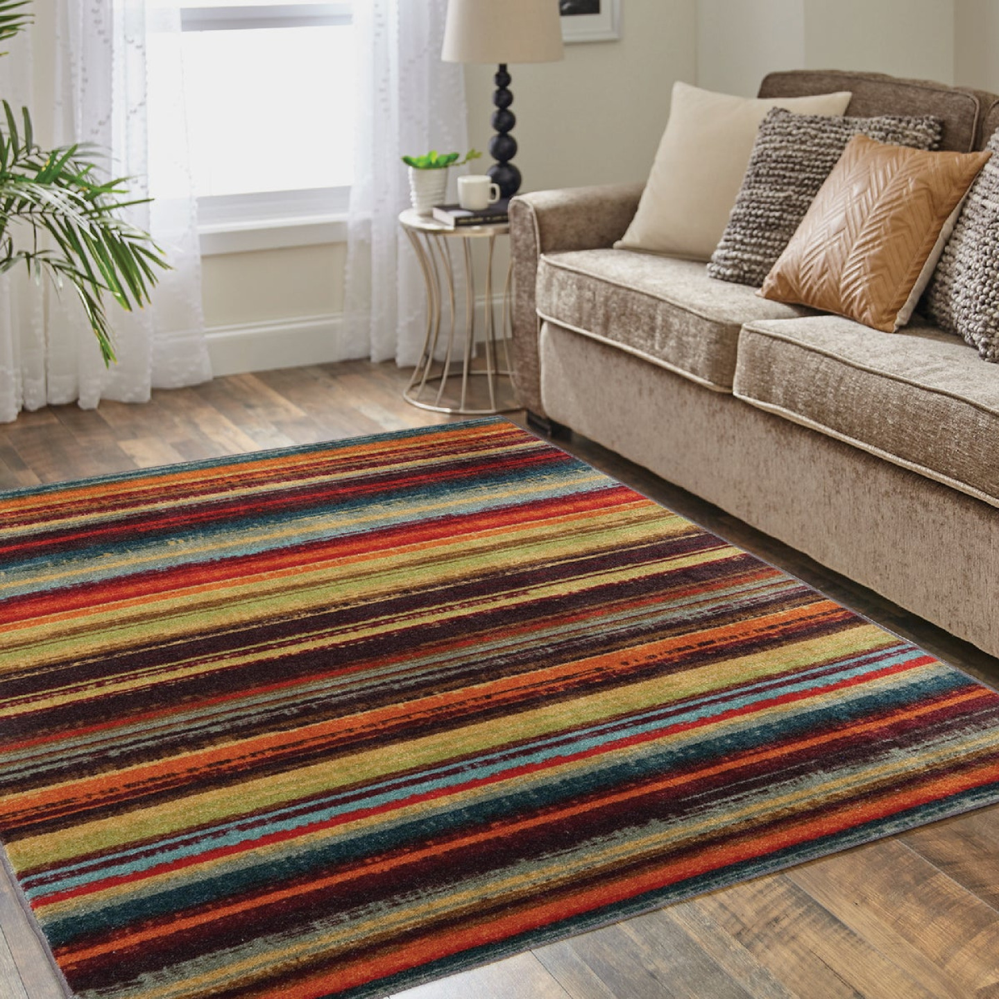Mohawk Home Boho Stripe Multi-Color 5 Ft. x 8 Ft. Area Rug Image 2