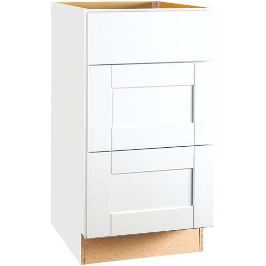 Continental Cabinets Andover Shaker 18 In. W x 34-1/2 In. H x 24 In. D White Kitchen Cabinet Drawer Base