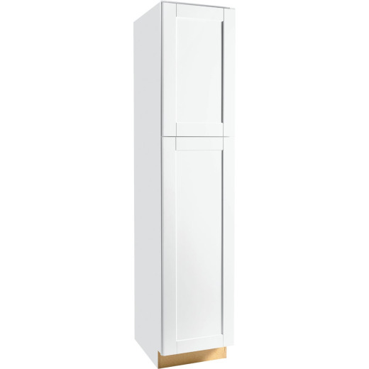 Continental Cabinets Andover Shaker 18 In. W x 84 In. H x 24 In. D White Thermofoil Pantry Kitchen Cabinet