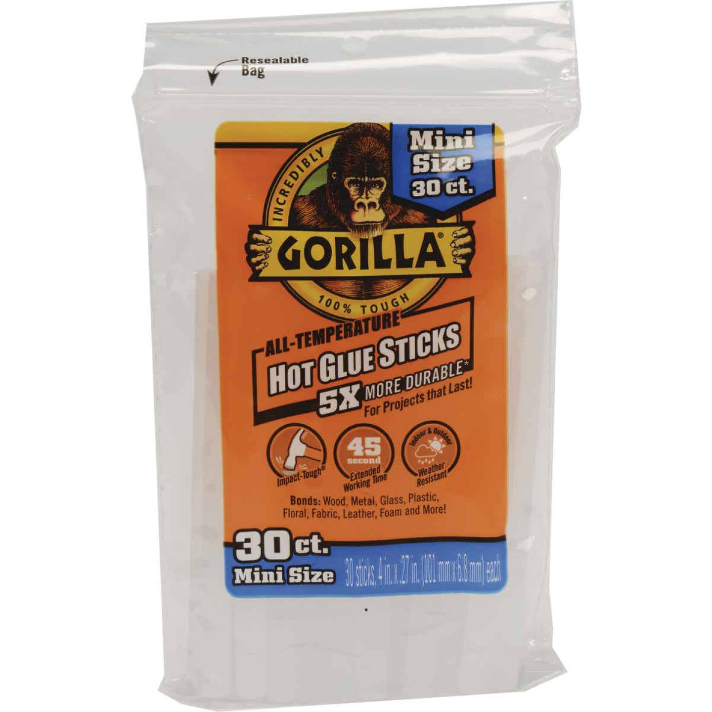 Gorilla 4 In. Mini Clear Hot Melt Glue (30-Pack) Image 1