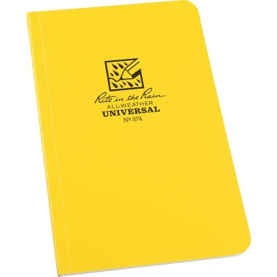 Rite in the Rain All-Weather 4-5/8 In. W x 7-1/4 In. H 64-Sheet Soft Cover Side-Bound Notebook, Yellow
