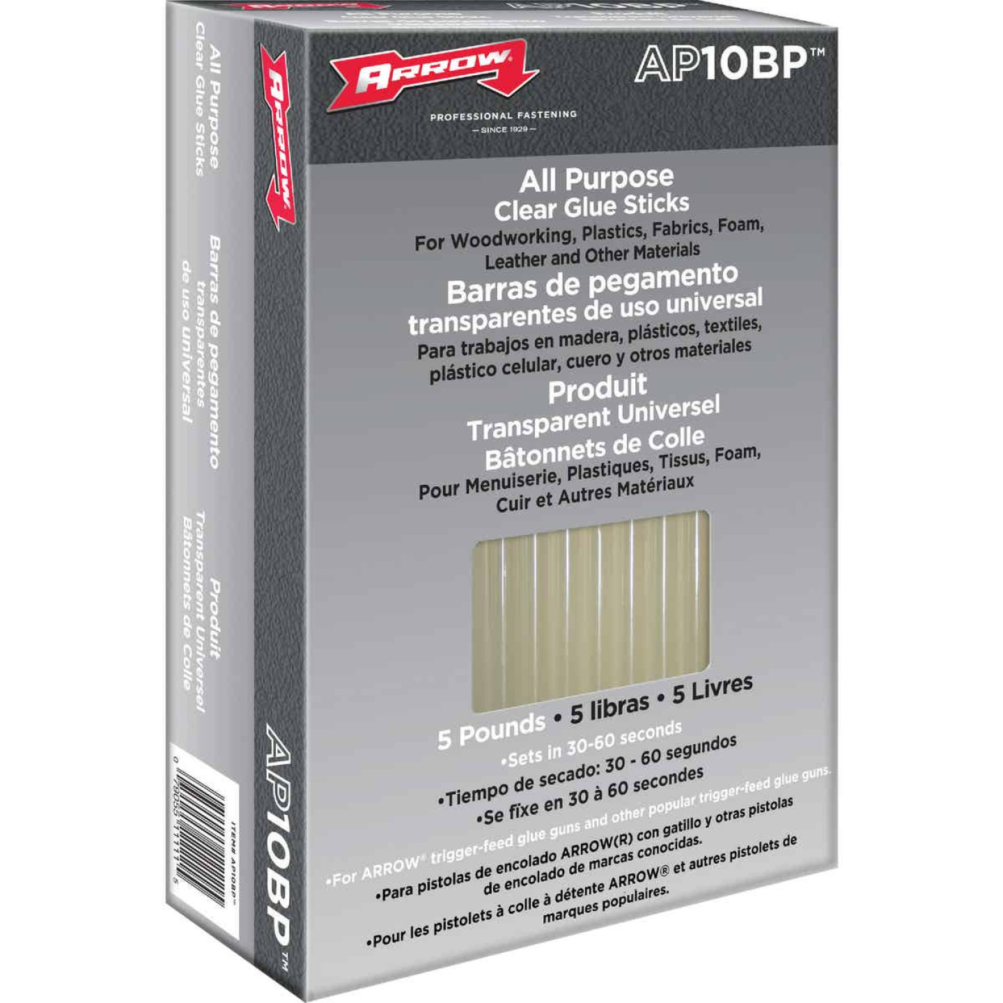 Arrow 10 In. Standard Clear Hot Melt Glue (5-Pound) Image 1