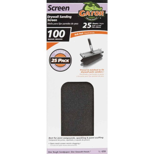 Gator Grit 100 Grit 4-3/8 In. x 11 In. Precut Drywall Sanding Screen (25-Pack)