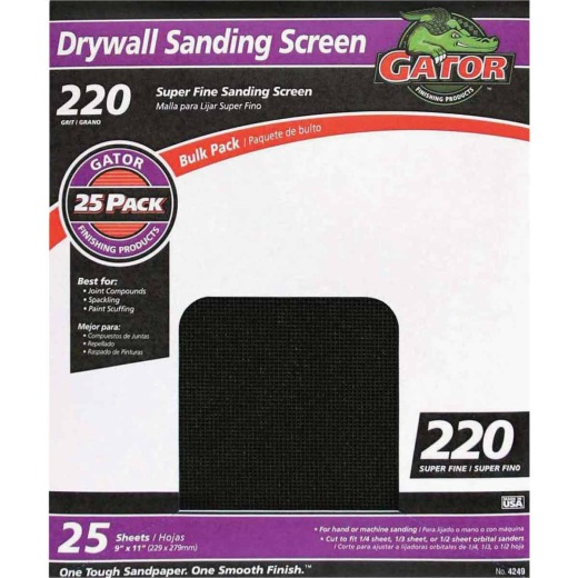 Gator Grit 220 Grit 9 In. x 11 In. Drywall Sanding Screen (25 Pack)