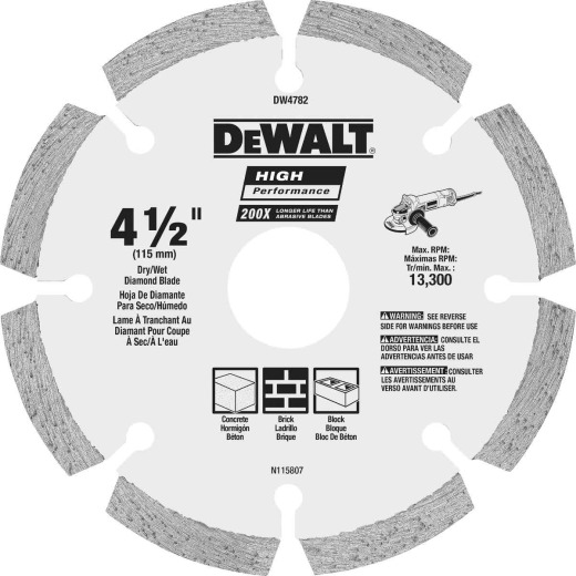 DeWalt High Performance 4-1/2 In. Segmented Rim Dry/Wet Cut Diamond Blade