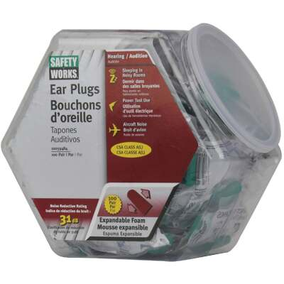 Safety Works Foam NRR 31dB Earplugs in Counter Dispenser (100-Pair)