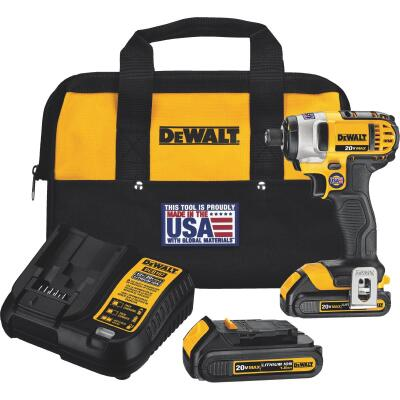 DeWalt 20 Volt MAX Lithium-Ion 1/4 In. Hex Cordless Impact Driver Kit (2-Battery)