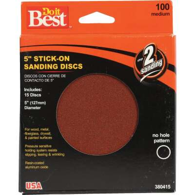 Do it Best 5 In. 100 Grit Stick-On Sanding Disc (15-Pack)