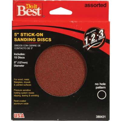 Do it Best 5 In. 150/100/60 Grit Stick-On Sanding Disc (15-Pack)