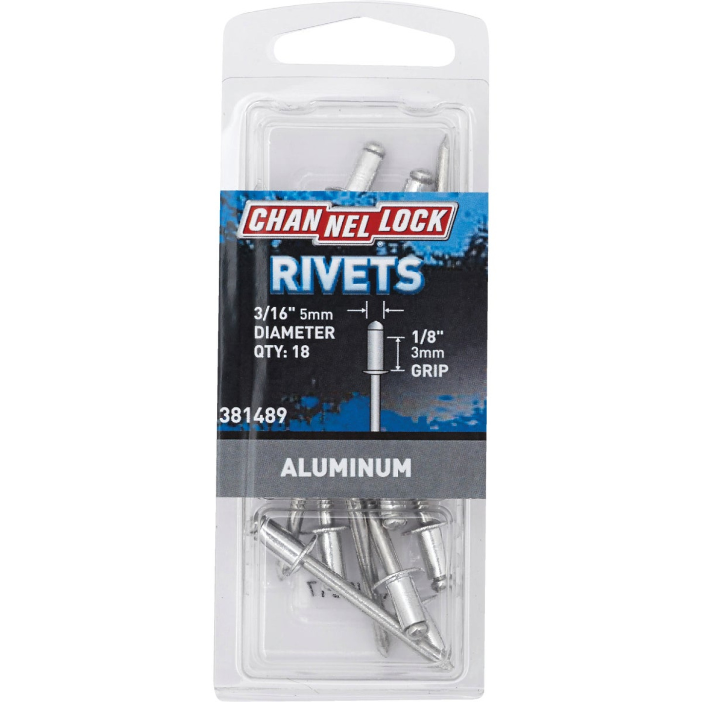 Channellock 3/16 In. Dia. x 1/8 In. Grip Aluminum POP Rivet (18-Pack) Image 1