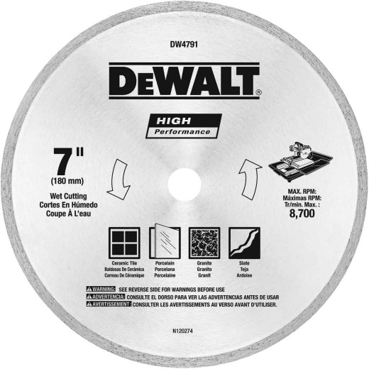 DeWalt High Performance 7 In. Continuous Rim Dry/Wet Tile Diamond Blade