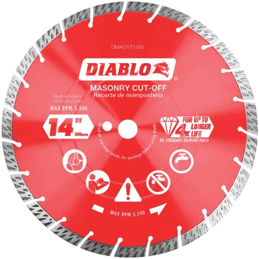 Diablo 14 In. Segmented Turbo Rim Dry/Wet Diamond Blade