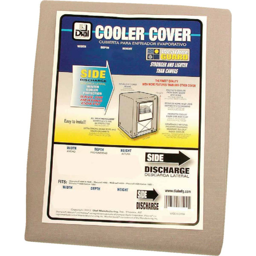 Dial 40 In. W x 40 In. D x 46 In. H Polyester Evaporative Cooler Cover, Side Discharge