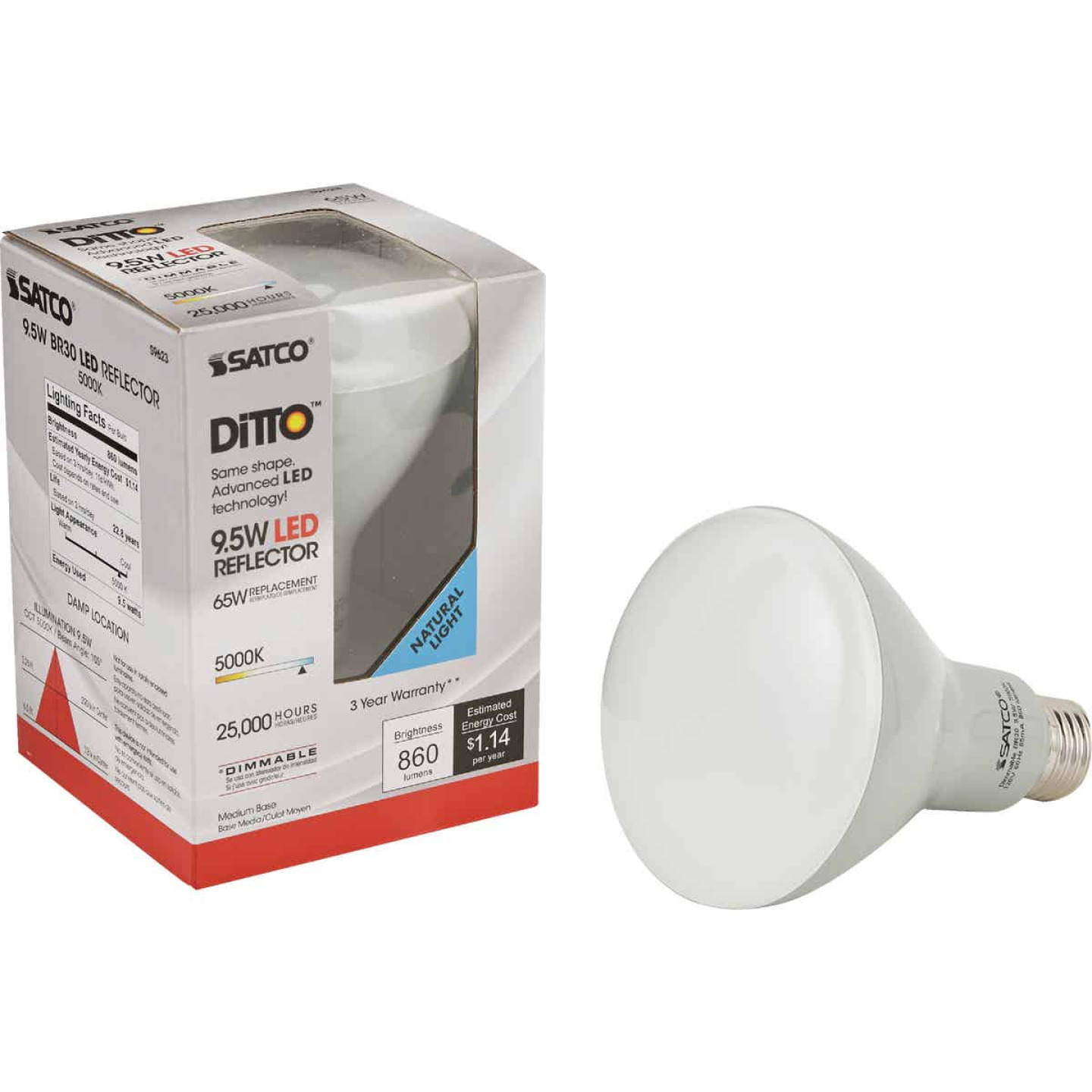 Satco Ditto 65W Equivalent Natural Light BR30 Medium Dimmable LED Floodlight Light Bulb Image 1