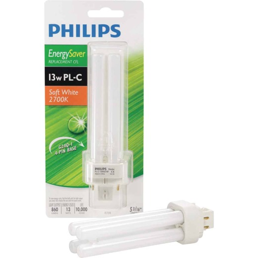 Philips 60W Equivalent Soft White G24 Base PL-C CFL Light Bulb