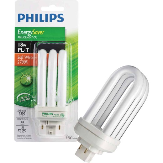 Philips 75W Equivalent Soft White GX24 Base PL-T CFL Light Bulb
