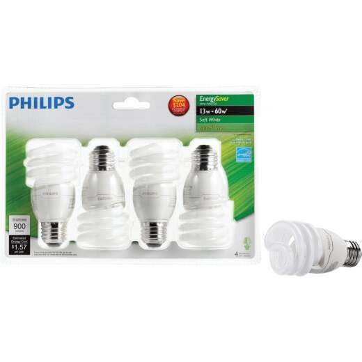 Philips Energy Saver 60W Equivalent Soft White Medium Base T2 Spiral CFL Light Bulb (4-Pack)