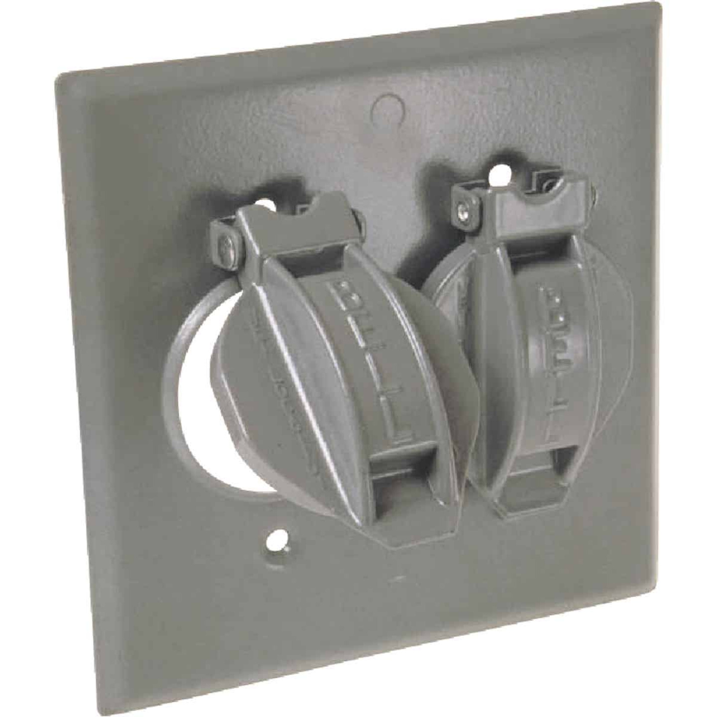 Hubbell 2-Gang Vertical Corrosion Resistant Aluminum Weatherproof Outdoor Outlet Cover Image 1