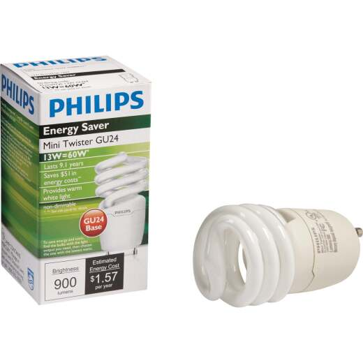 Philips Energy Saver 60W Equivalent Warm White GU24 Base Spiral CFL Light Bulb
