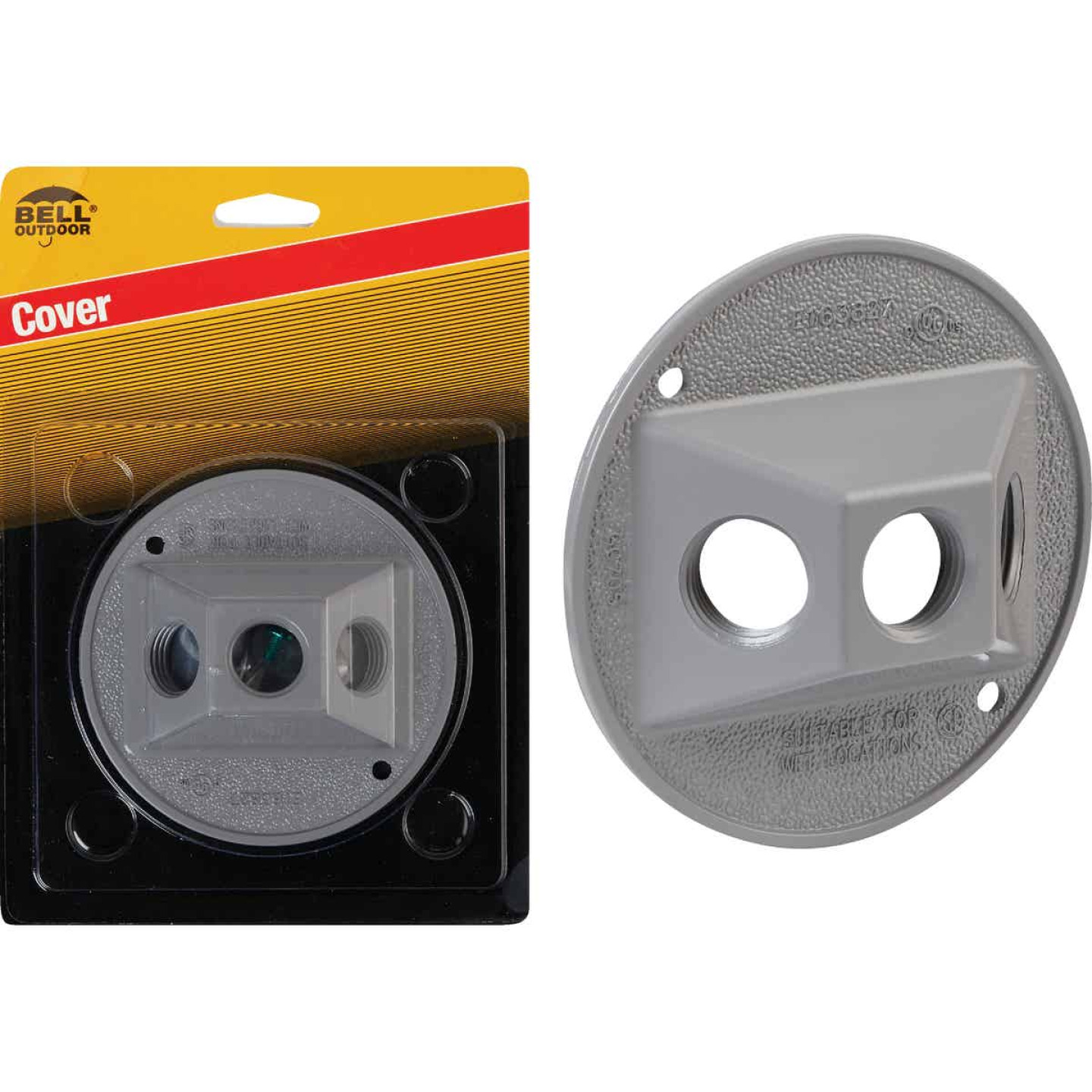 Bell 3-Outlet Round Zinc Gray Cluster Weatherproof Outdoor Box Cover, Carded Image 1