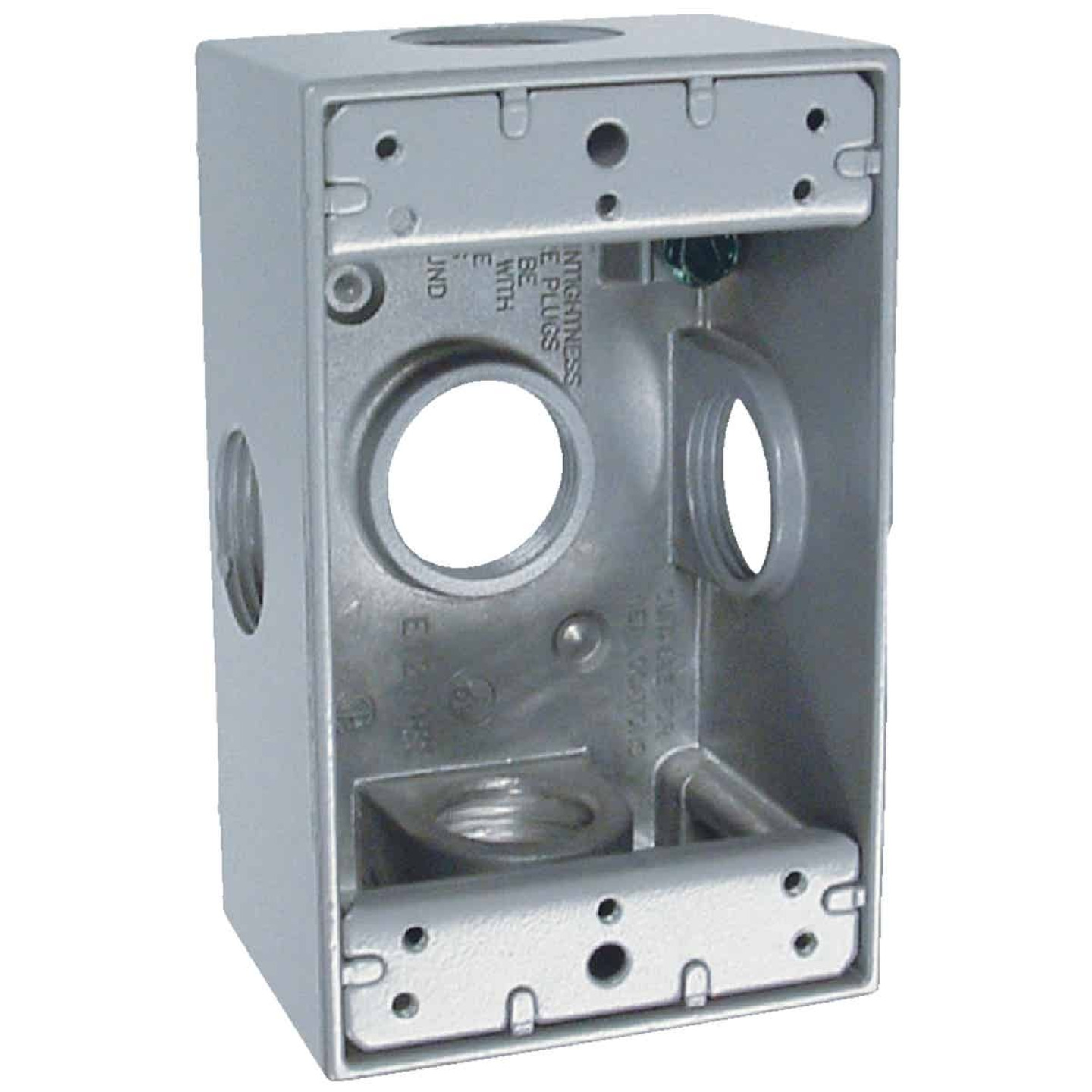 Bell Single Gang 3/4 In. 5-Outlet Gray Aluminum Weatherproof Outdoor Outlet Box Image 1