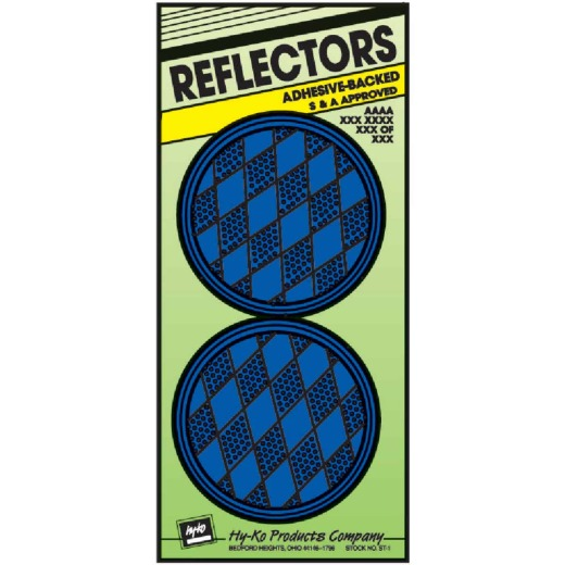 Hy-Ko 3-1/4 In. Dia. Round Blue Press-On Reflector (2-Pack)