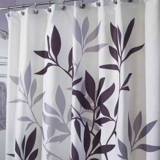 InterDesign York 72 In. x 72 In. Navy Leaves 100% Polyester Graphic Fabric Shower Curtain