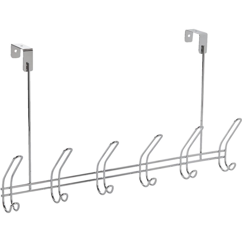 InterDesign Classico Over-The-Door Chrome 6-Hook Rail Image 1