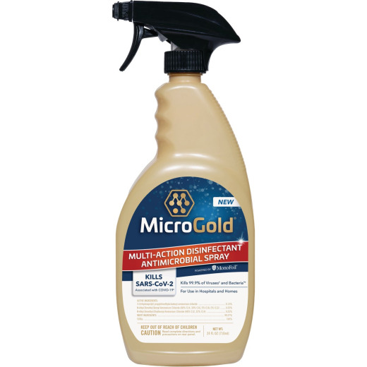 MicroGold 24 Oz, Mult-Action Disinfectant Antimicrobial Trigger Spray Bottle