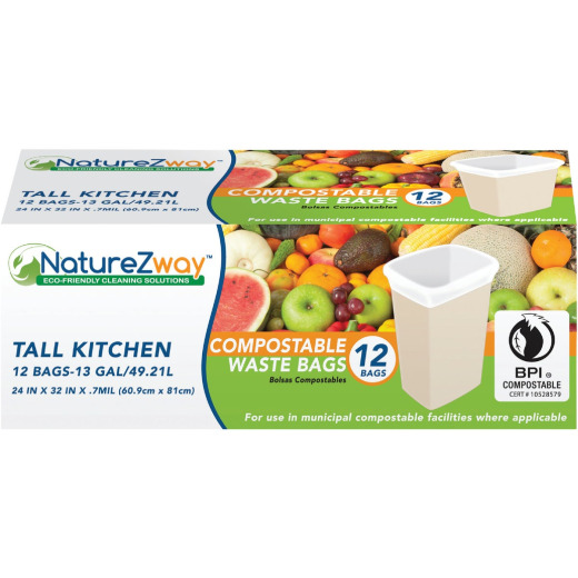 NatureZway 13 Gal. Tall Kitchen Compostable Trash Bag (12-Count)