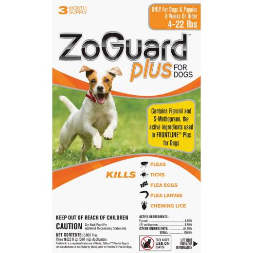 ZoGuard Plus 3-Month Supply Flea & Tick Treatment For Dogs 4 Lb. to 22 Lb.