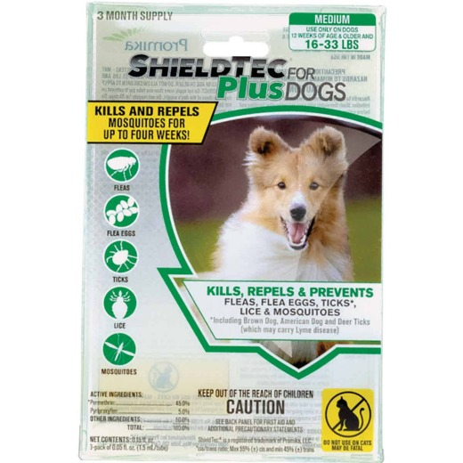 ShieldTec Plus 3-Month Supply Flea & Tick Treatment For Medium Size Dogs 16 Lb. to 33 Lb.