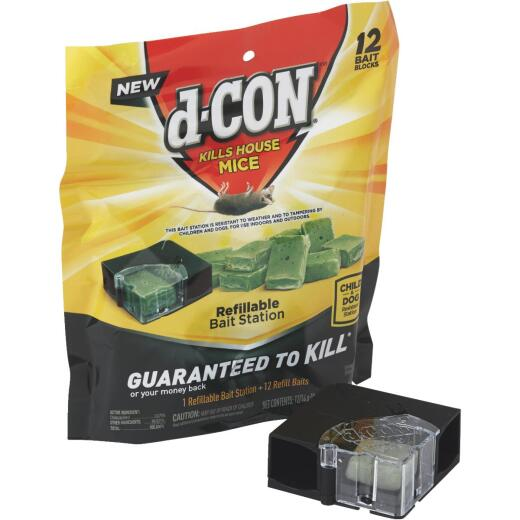 D-Con Refillable Corner Fit Mouse Bait Station (12-Refill)