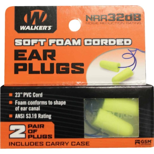 Walker's Soft Foam Corded Neon Yellow Ear Plugs (2-Pair)