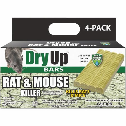 Dry Up Rat & Mouse Killer Moisture Resistant Bars (4-Pack)