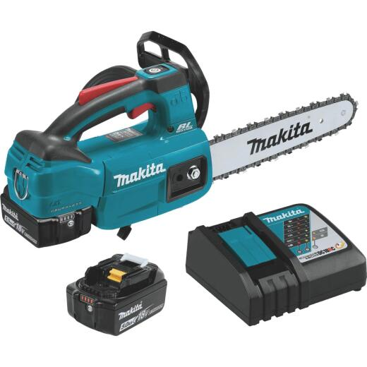 Makita 18V LXT Lithium-Ion Brushless Cordless 10 In. (5.0Ah) Top Handle Chain Saw Kit