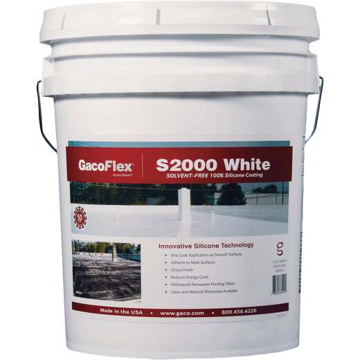 GacoFlex 5 Gal. White Solvent-Free 100% Silicone Roof Coating, 193-961