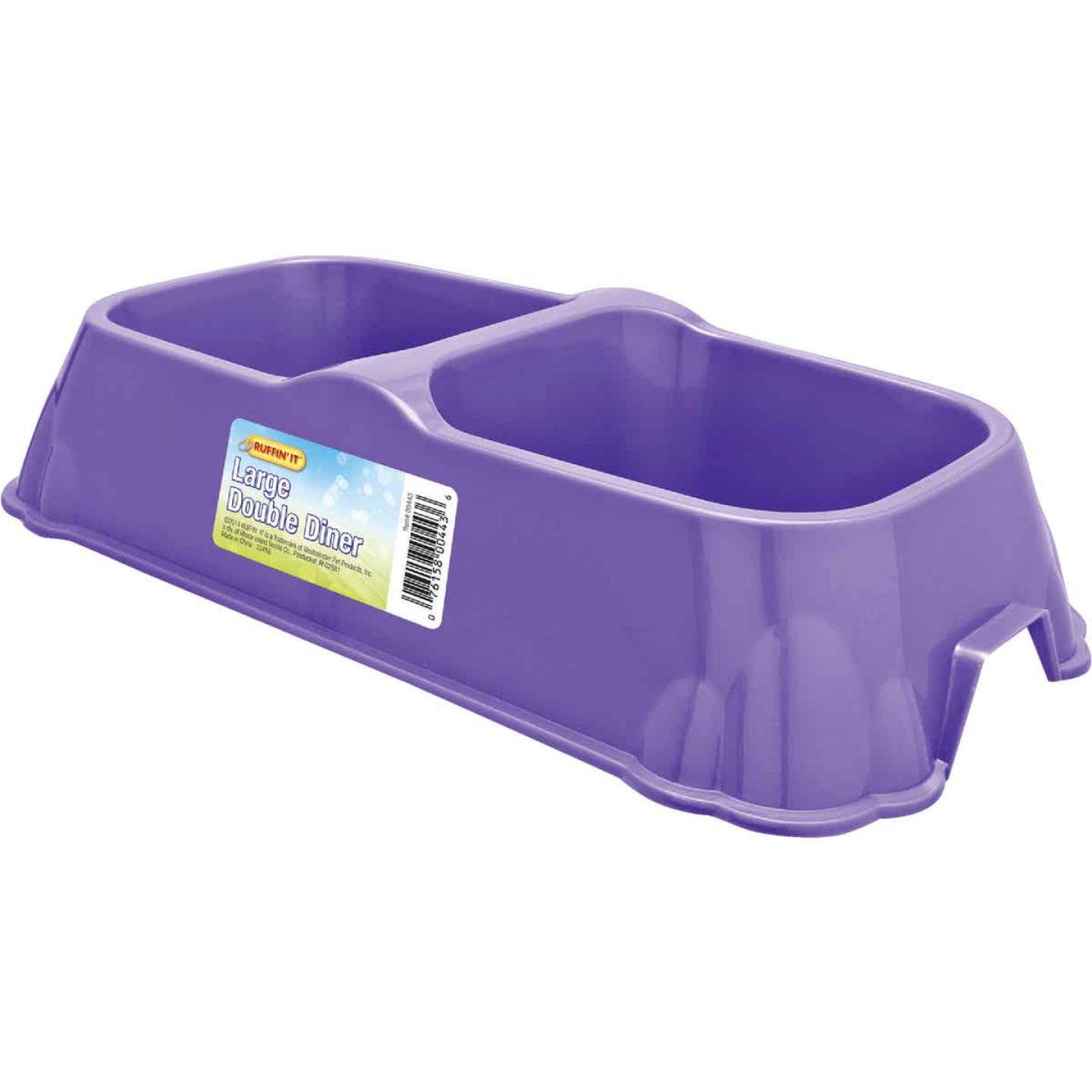 Westminster Pet Ruffin' it Plastic Rectangle Large Double Pet Food Bowl Image 1