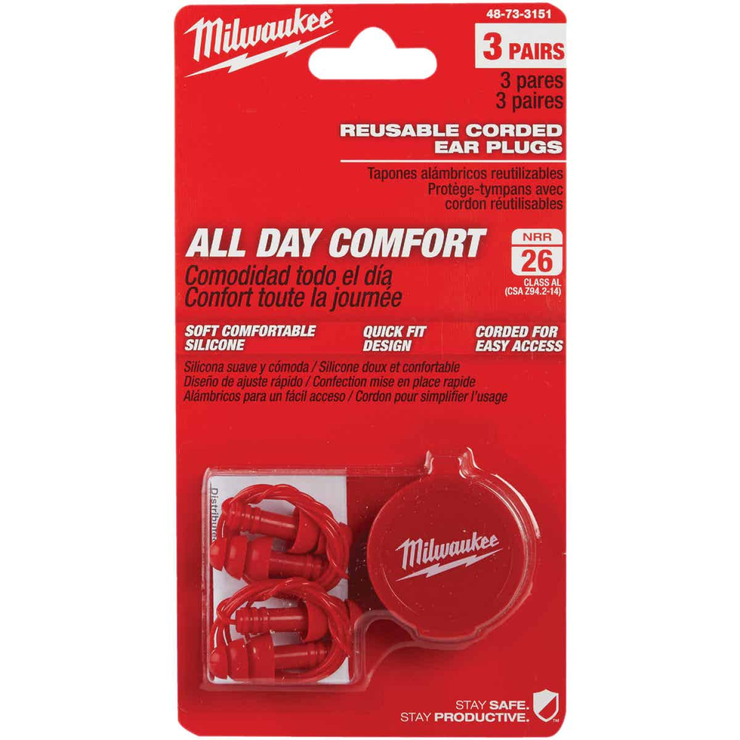 Milwaukee Silicone 26 dB Corded Ear Plugs (3-Pair) Image 2
