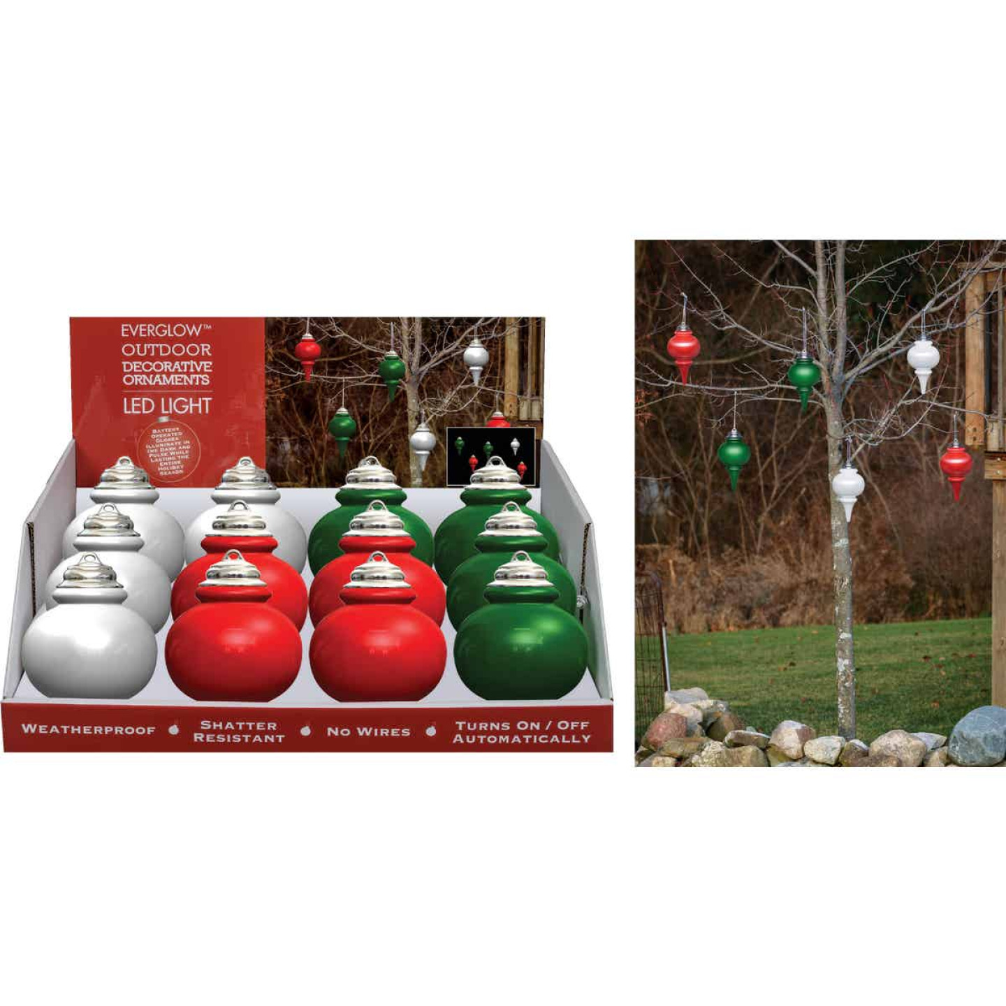 Xodus 9 In. Shatter Resistant LED Outdoor Finial Christmas Ornament Image 1